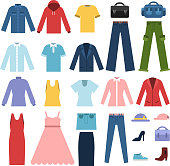 Set of different clothes for male and female. Vector fashion male and female clothing illustration