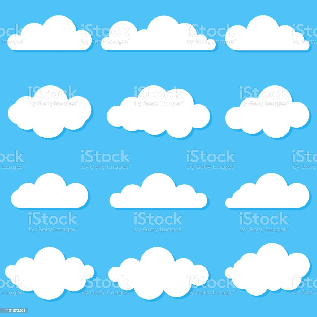 A set of different clouds. Cloud icon, symbol or logo. A set of...