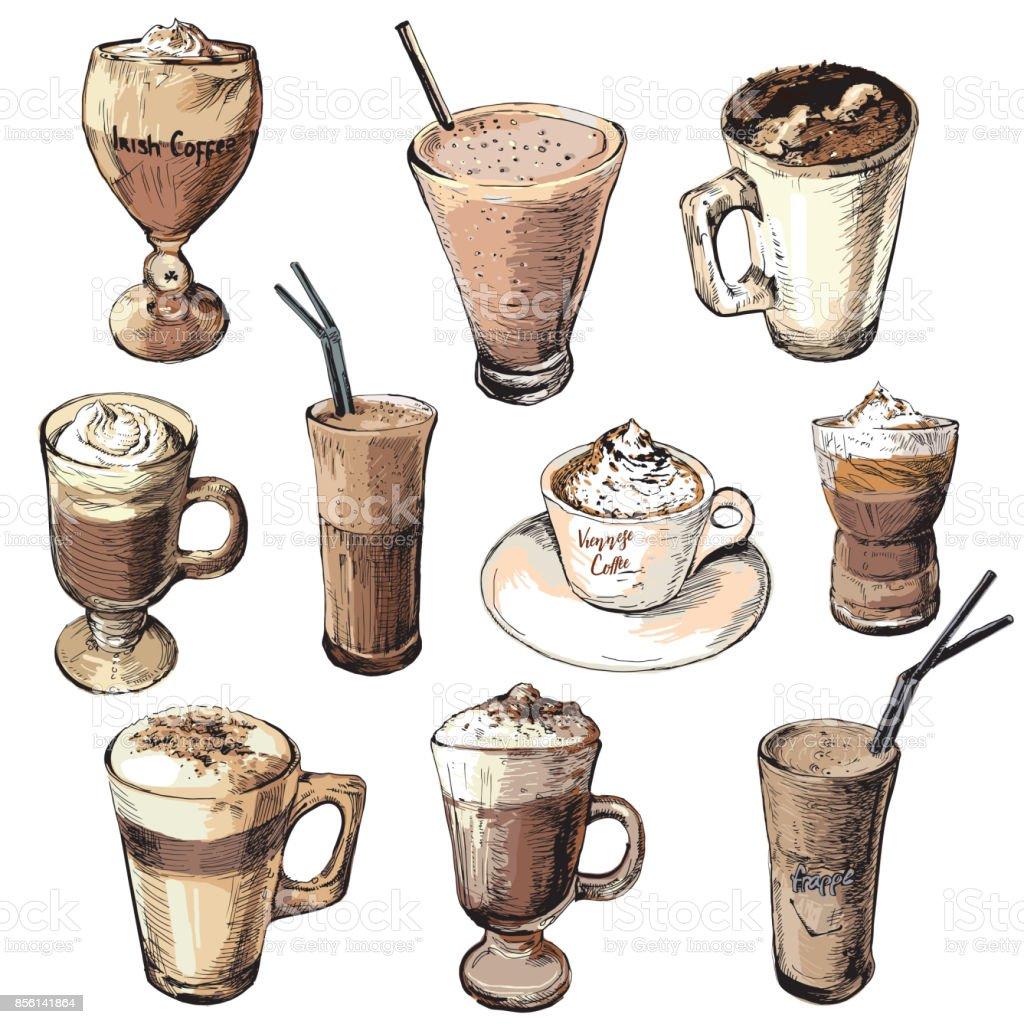 Legen Sie Verschiedene Kaffeegetränke Warme Und Kalte Kaffeegetränke ...