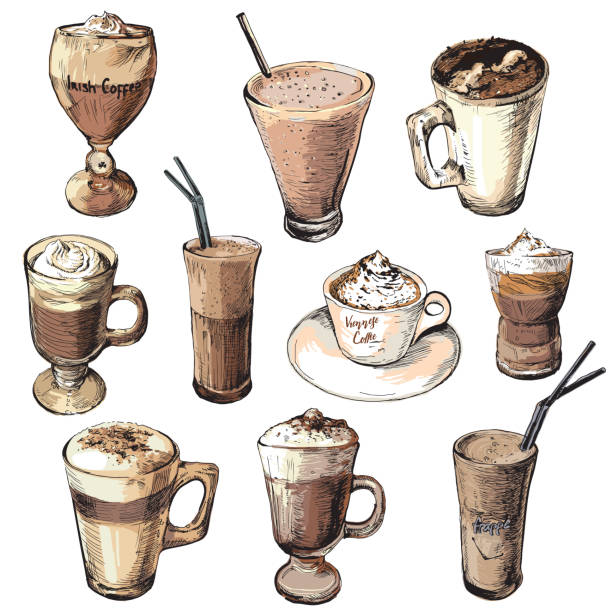 Set of different coffee beverages.Hot and cold coffee drinks. Hand drawing coffee cups. Coffee drinks. irish coffee stock illustrations