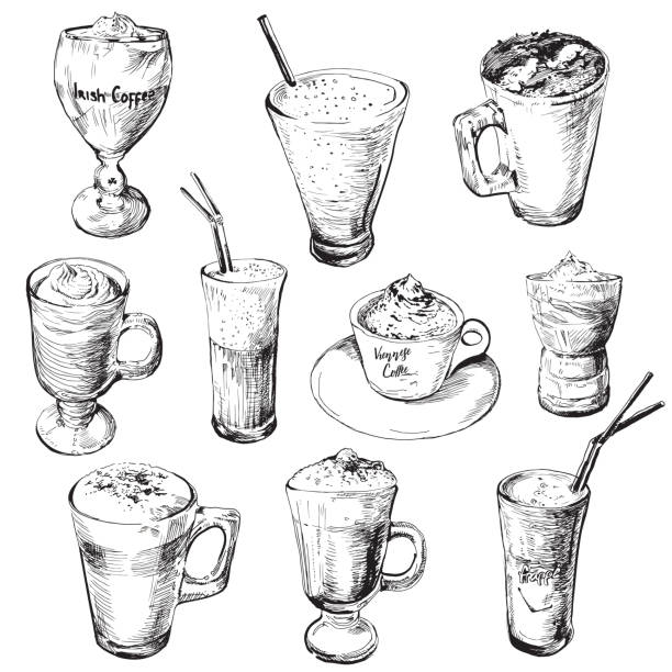 Set of different coffee beverages.Hot and cold coffee drinks. Hand drawing coffee cups. Coffee drinks irish coffee stock illustrations