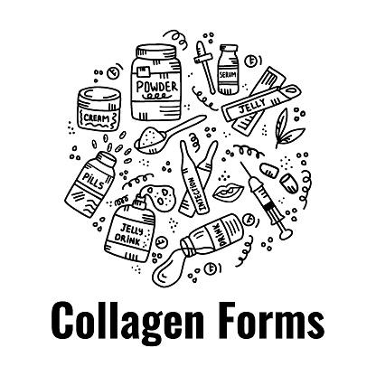 Set of different collagen types. Trendy beauty supplement.