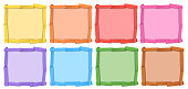 A set of different color of wooden frame illustration