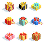 Set of different colored 3D giftboxes with ribbons isolated. Flat vector illustration