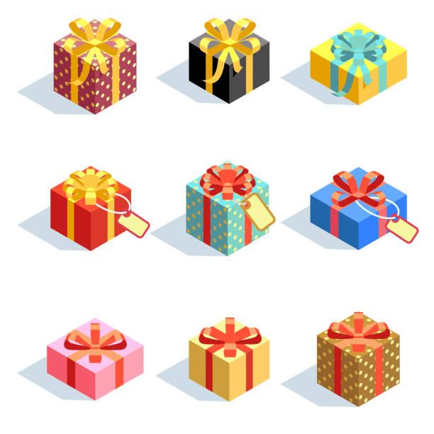 satz von verschiedenen farbigen 3d giftboxes mit bändern isoliert. flache vektor-illustration - geburtstagsgeschenk stock-grafiken, -clipart, -cartoons und -symbole