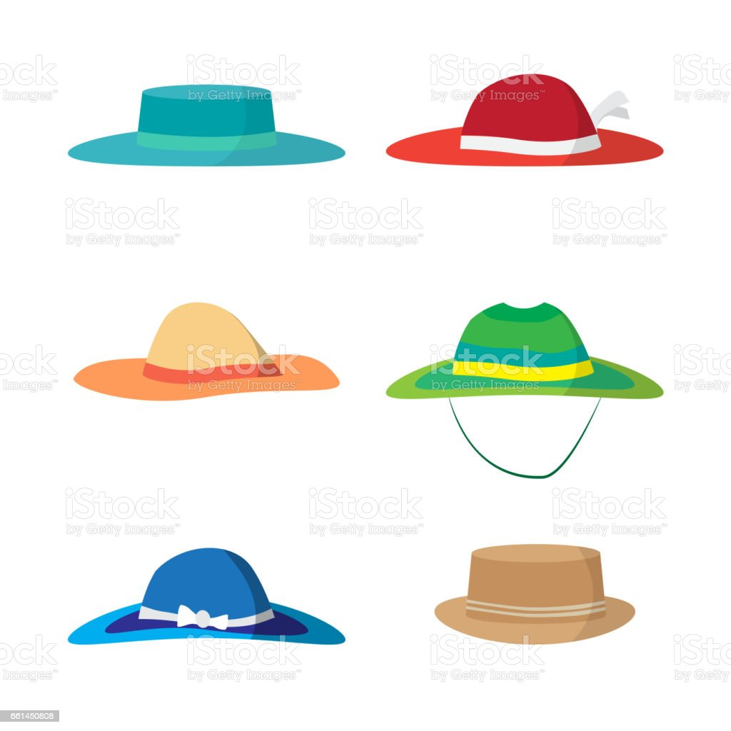 Set of different colored beach hats vector art illustration