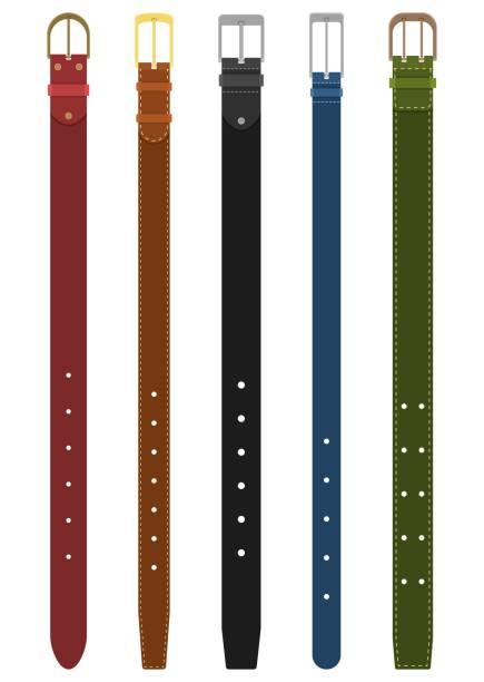 satz von verschiedenen farbigen gürtel mit schnallen isoliert auf weißem hintergrund. element der kleidung zu entwerfen. gürtel-hose im flachen stil - lederverarbeitung stock-grafiken, -clipart, -cartoons und -symbole