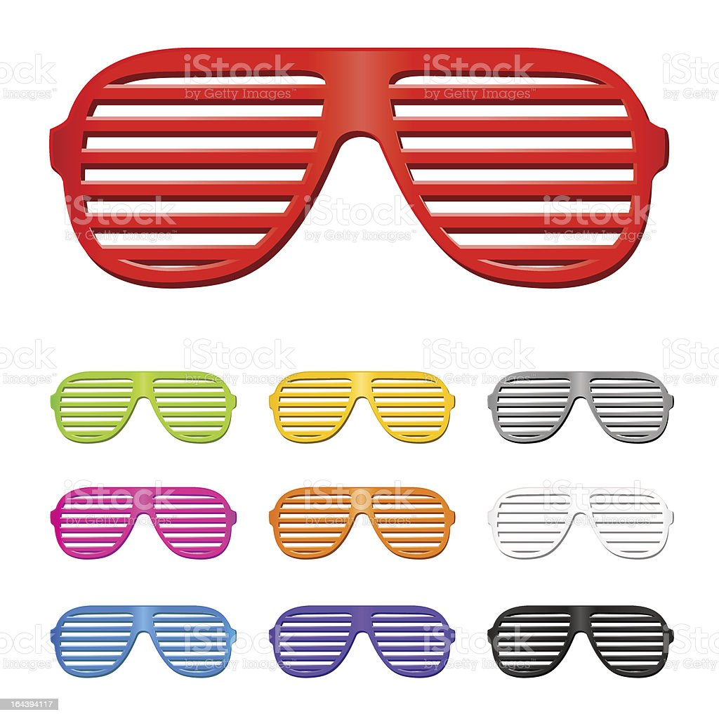 Set of different colored slatted sunglasses royalty-free stock vector art