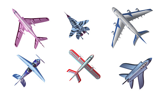 Set of different colorful airplane aircraft. Vector illustration in flat cartoon style