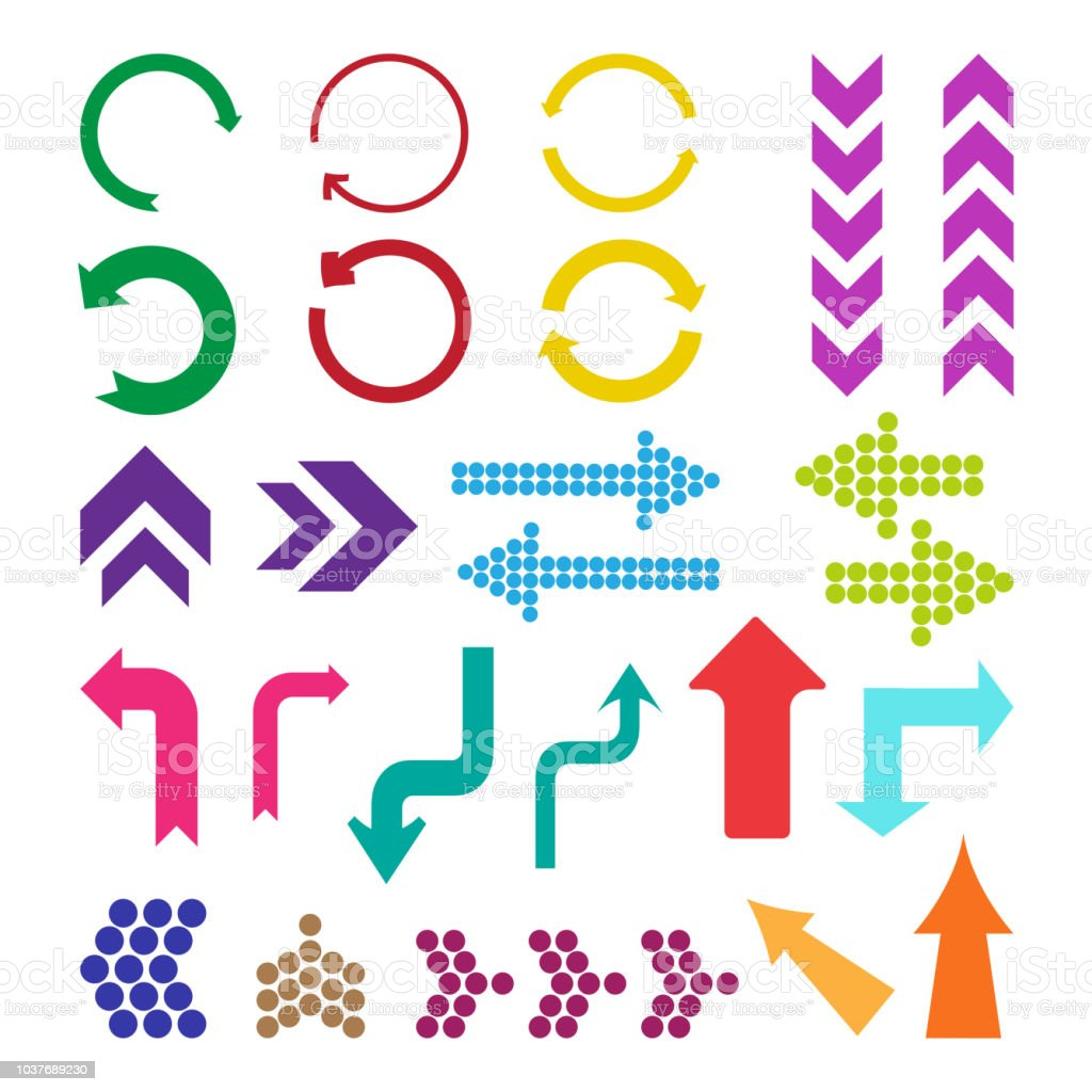 Set of different colorful arrows, vector illustration