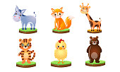 istock Set of different colorful cute animals. Vector illustration in flat cartoon style. 1205373004