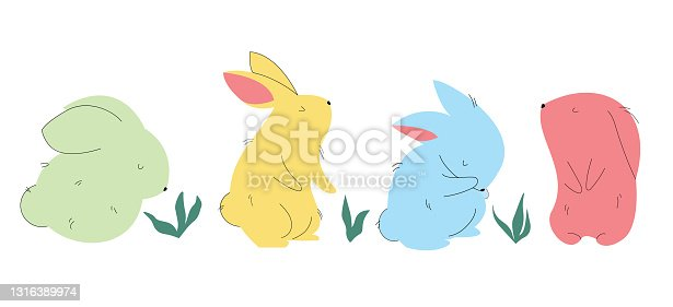 Set of different colorful cute bunnies.
