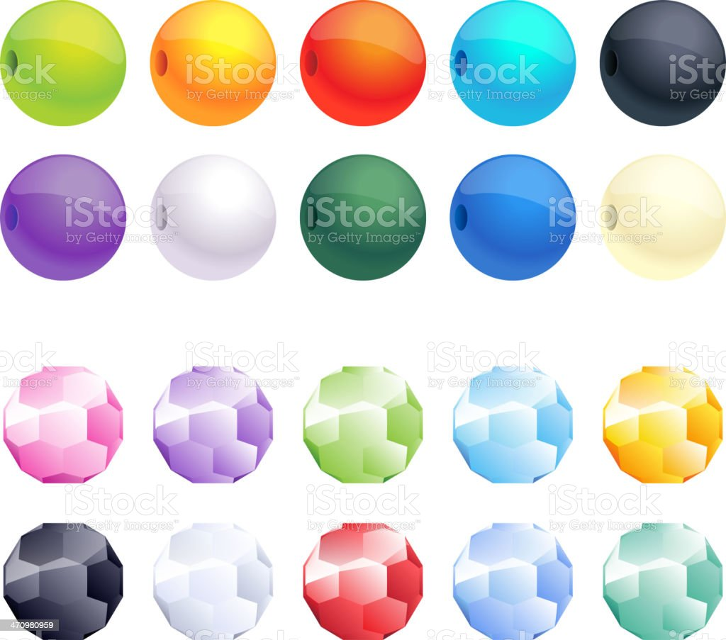 Set of different colorful faceted and round beads. vector art illustration