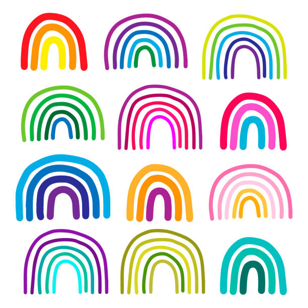 Set of different colorful rainbow hand drawn vector illustrations in cartoon style Set of different colorful rainbow hand drawn vector illustrations in cartoon style minimalism rainbow stock illustrations