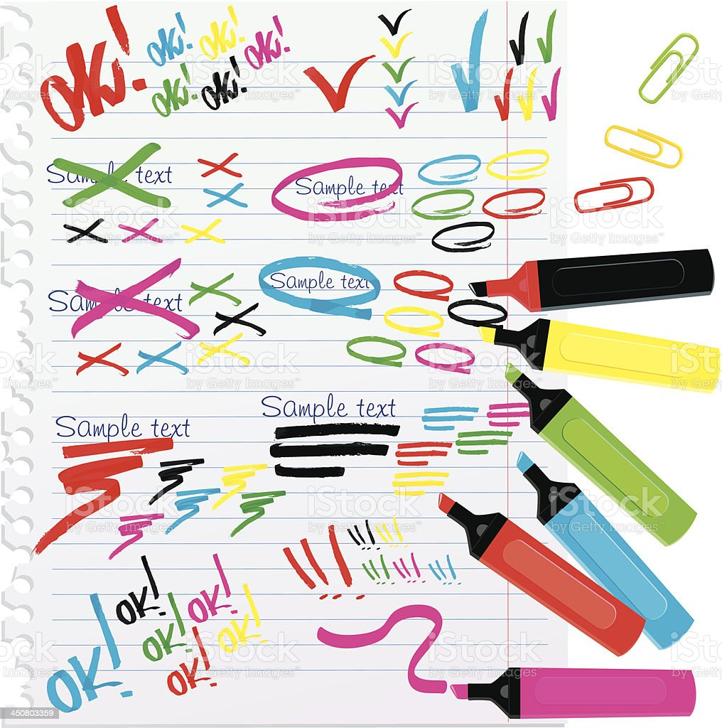Set of different colors markers and notes royalty-free set of different colors markers and notes stock vector art & more images of backgrounds