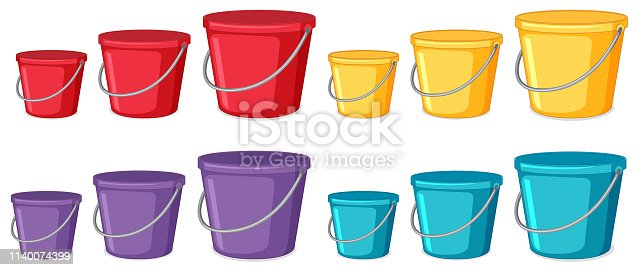 Set of different coloured buckets illustration