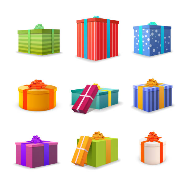 set of different colourful bright gift boxes - prezent na urodziny stock illustrations