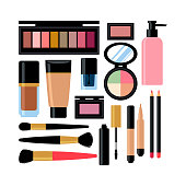 set of different cosmetic products. Nail polish, mascara, lipstick, eye shadows, brush, powder, lip gloss. Vector illustration