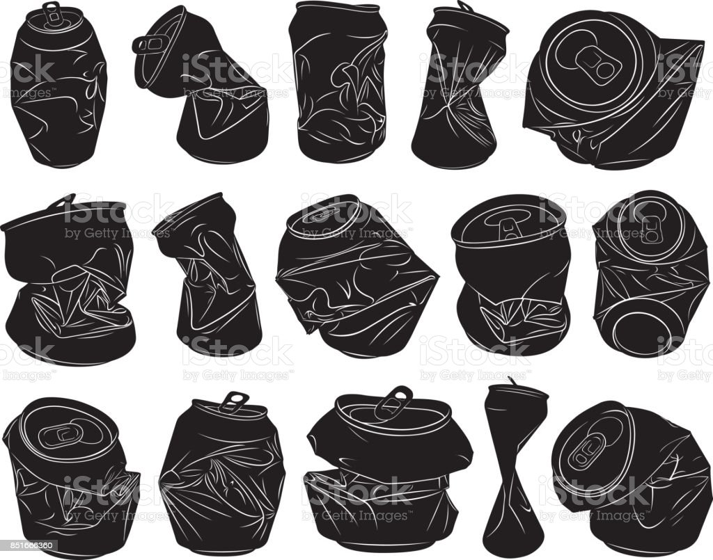Set of different crushed cans vector art illustration
