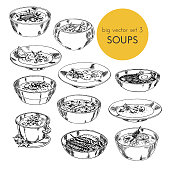 illustration with set of different cuisines soups. Vector illustration hand drawn, graphic. dishes of different countries. for the menu design of cafes and restaurants