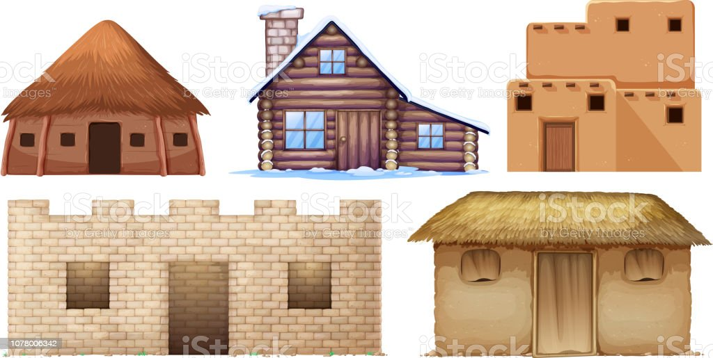 Set of different culture houses vector art illustration