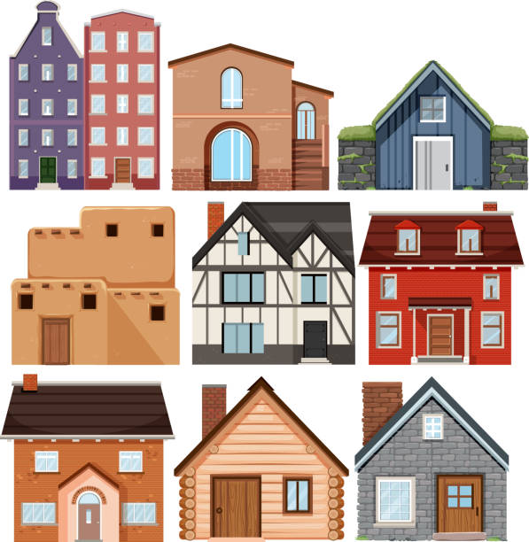 set of different culture houses - log cabin stock illustrations, clip art, cartoons, & icons