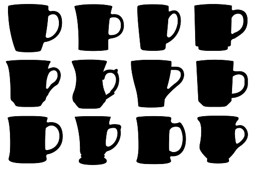 Set of different cups and mugs
