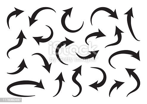 Set of different curve arrows, black collection. Vector illustration
