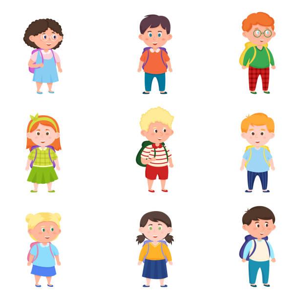 배낭과 다른 귀엽고 행복한 학교 아이들의 세트 - 몰도바 stock illustrations