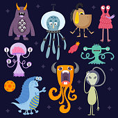 Set of different funny cartoon monsters. Cute alien characters. Creature happy illustration devil colorful animal. Halloween cool gesture face bacteria or comic viruses.