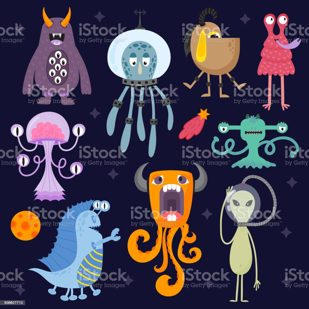 Set of different cute funny cartoon monsters. vector art illustration