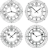 Set of different decorated clock faces.