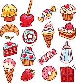 cute set of different desserts. hand-drawn illustration