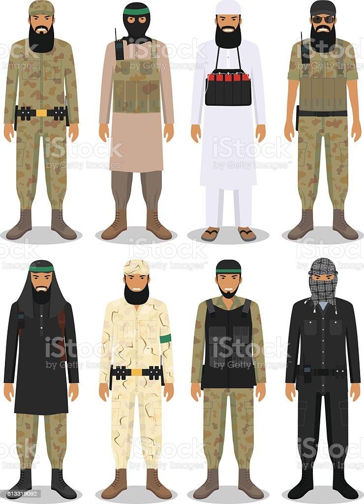 Set of different detailed illustration of islamic arabic terrorists. Vector. vector art illustration