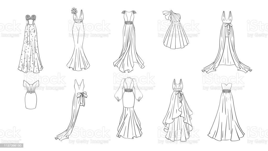 Farkli Elbiseler Bir Dizi Stok Vektor Sanati Abiye Nin Daha Fazla Gorseli Istock