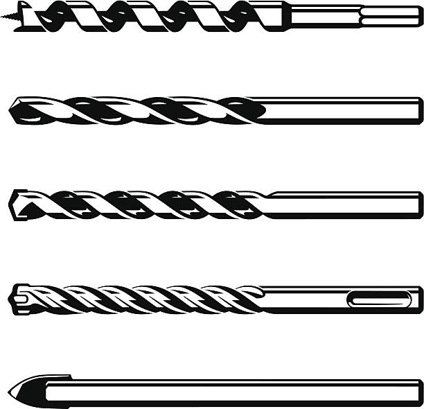 Set of different drills Set of different drills isolated on white background drill bit stock illustrations