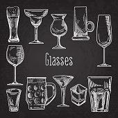 Set of Different Drink Glasses. Stemware Hand Drawn Doodle on Chalkboard. Vector illustration
