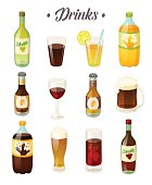 Set of different drinks. Cola, soda, wine and beers on white background. Vector illustration.