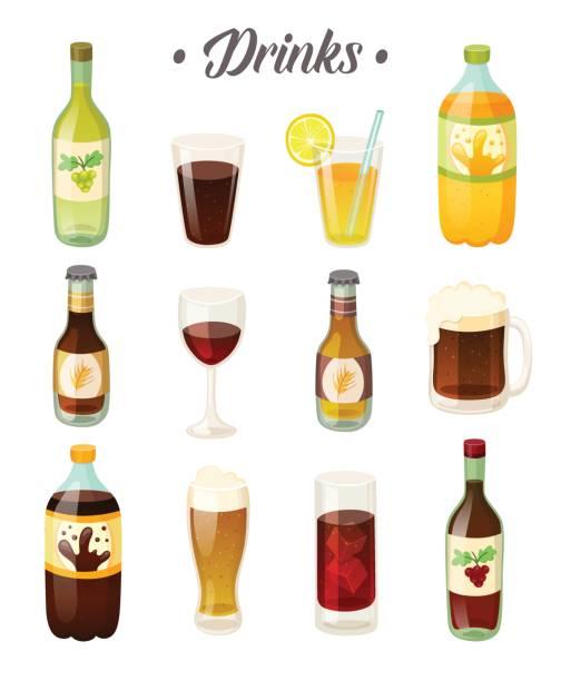 illustrazioni stock, clip art, cartoni animati e icone di tendenza di set of different drinks, wine and beer on white background. vector illustration - fruit juice bottle isolated