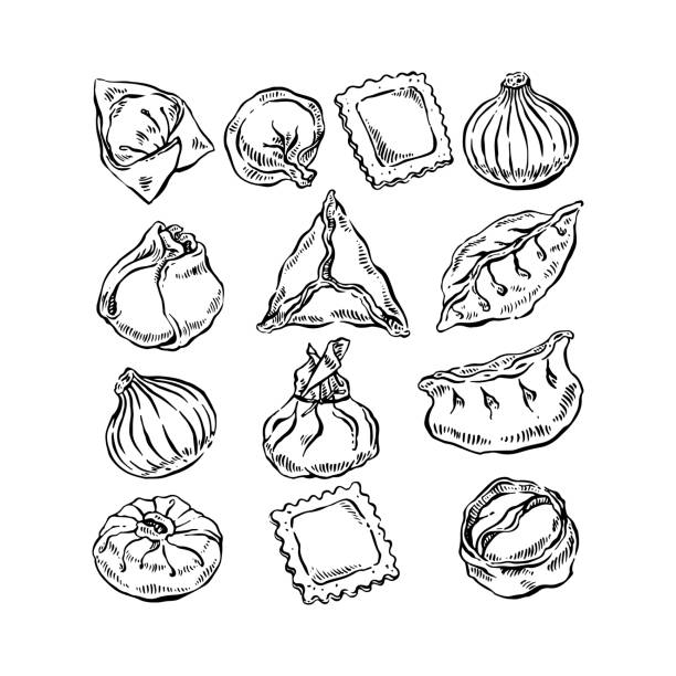 Set of different dumplings Set of different dumplings. Hand drawn illustration tortellini stock illustrations
