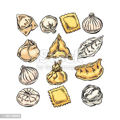 Set of different dumplings. Hand drawn illustration