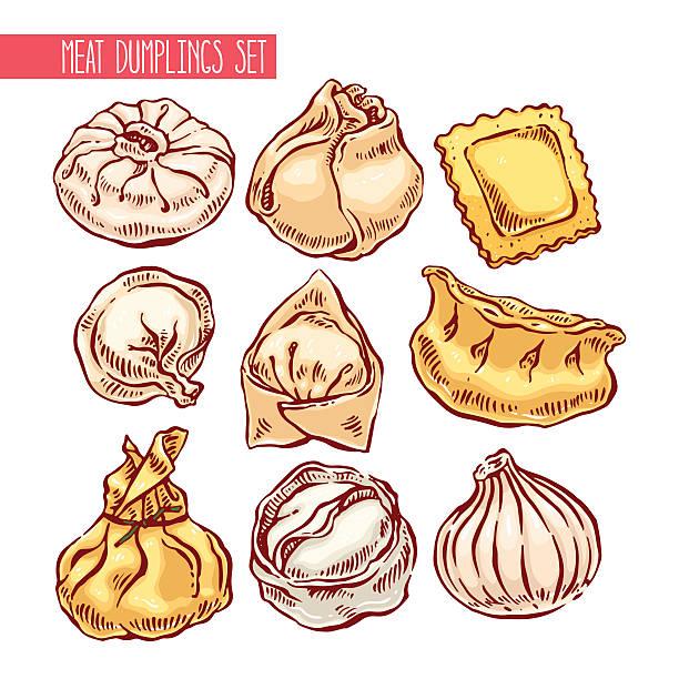 set of different dumplings appetizing set of different dumplings. hand-drawn illustration ravioli stock illustrations