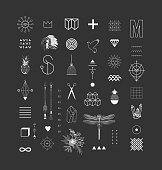 Set of different elements and shapes.