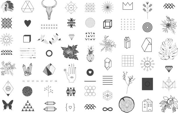 set of different elements and shapes - tribal tattoos stock illustrations, clip art, cartoons, & icons
