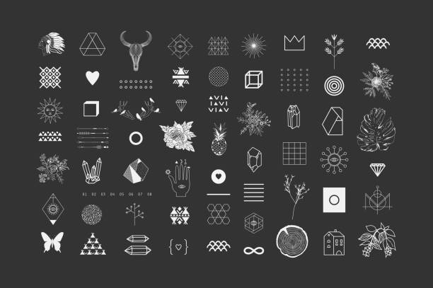 Set of different elements and shapes vector art illustration