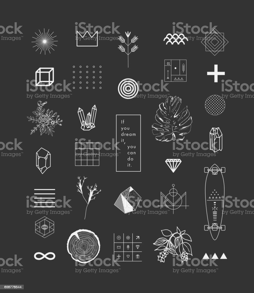 Set of different elements and shapes.Trendy hipster symbols and logotypes. Ethnic patterns. Geometric, alchemy, decor items. Vector. vector art illustration
