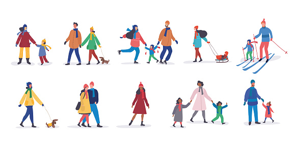 Set of different families walking in winter