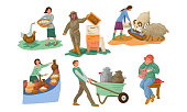 Collection set of different farmer people characters in various actions. Feeding farm animals concept. Isolated icons set illustration on a white background in cartoon style.