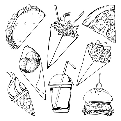 Set of different fast food. Vector illustration in sketch style.