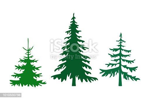 Pine tree silhouettes vector illustration